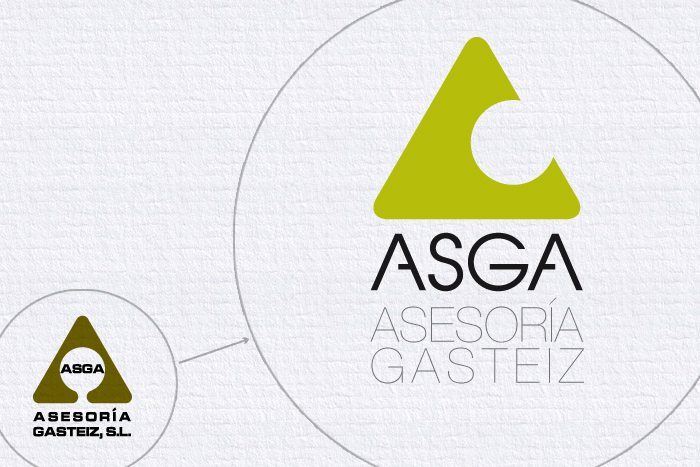 Logotipo Asga, imagen corporativa, versiones actual y antigua